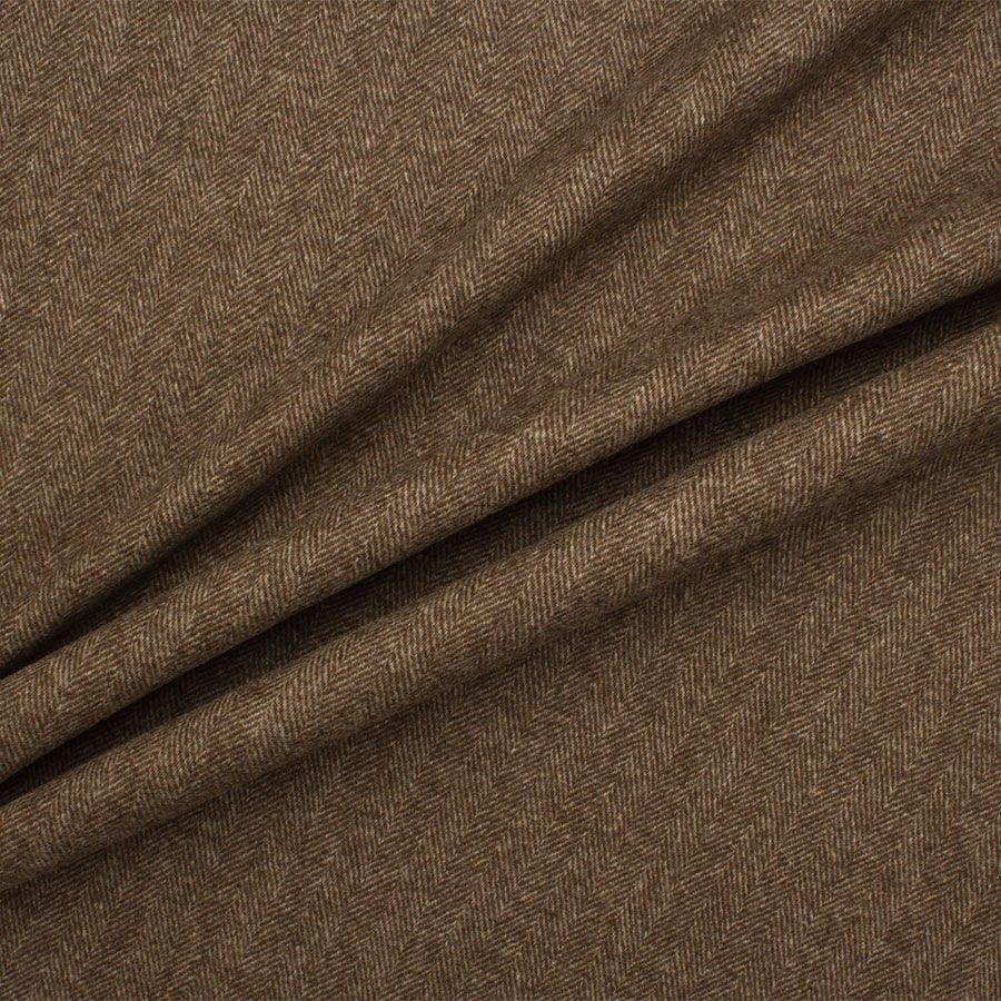 Brown Herringbone Wool Blend Suiting