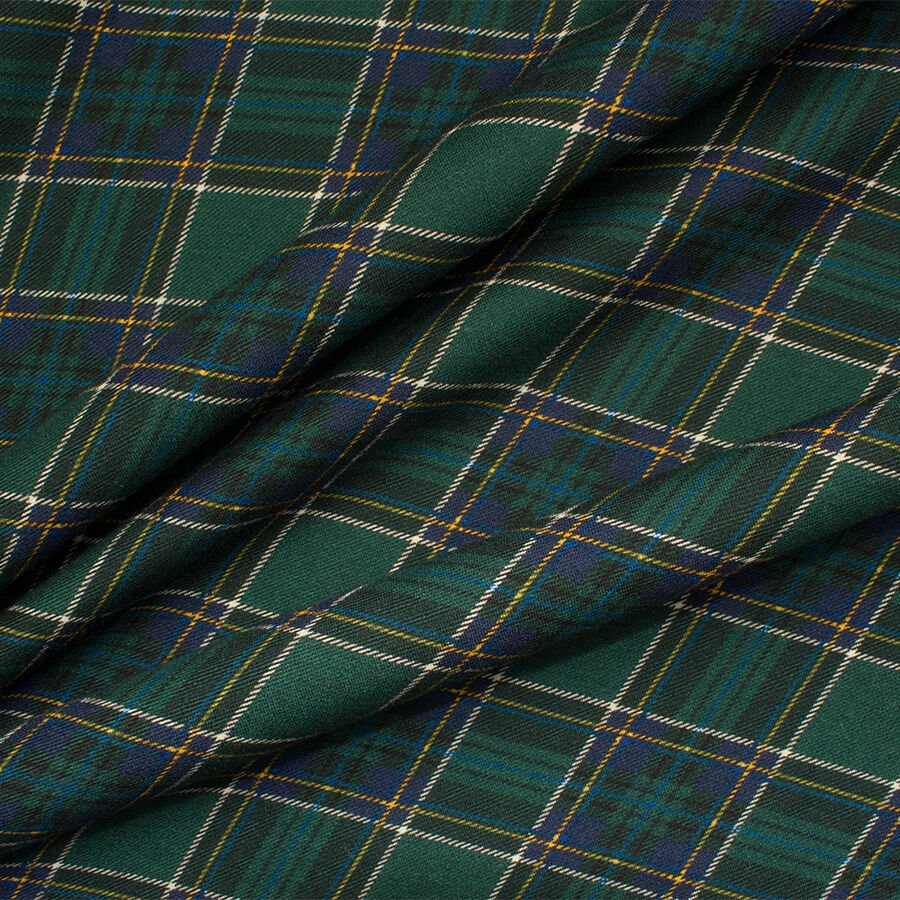 Dark Green/Blue Tartan Printed Wool