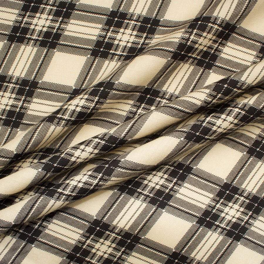Deep Cream/Black Tartan Printed Wool<br />