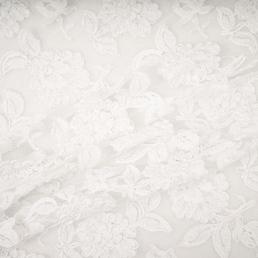 Pure White Floral Corded Lace