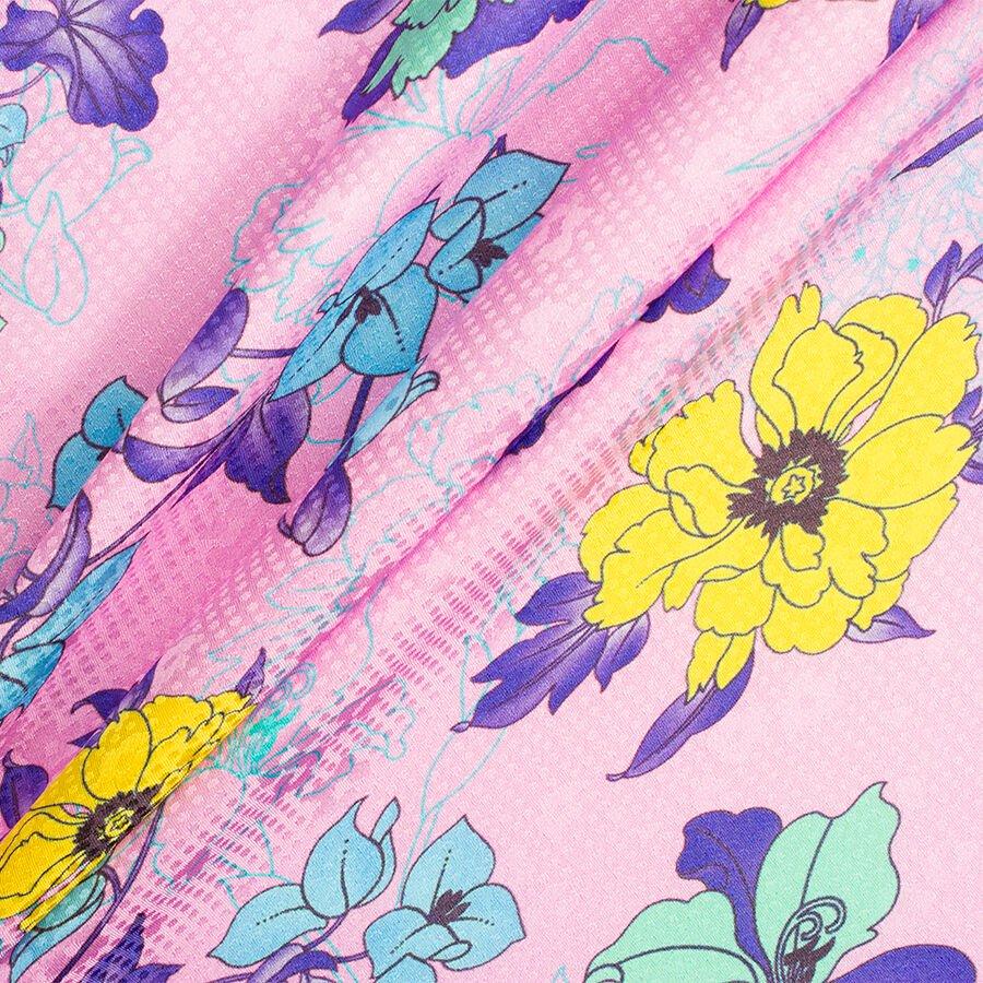 Candy Pink Ungaro Floral Printed Silk Jacquard by Emanuel Ungaro