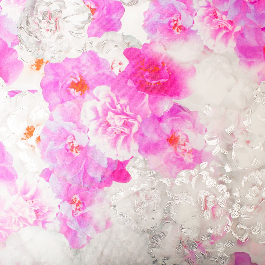 Pink Hand Painted Floral Silk Mikado