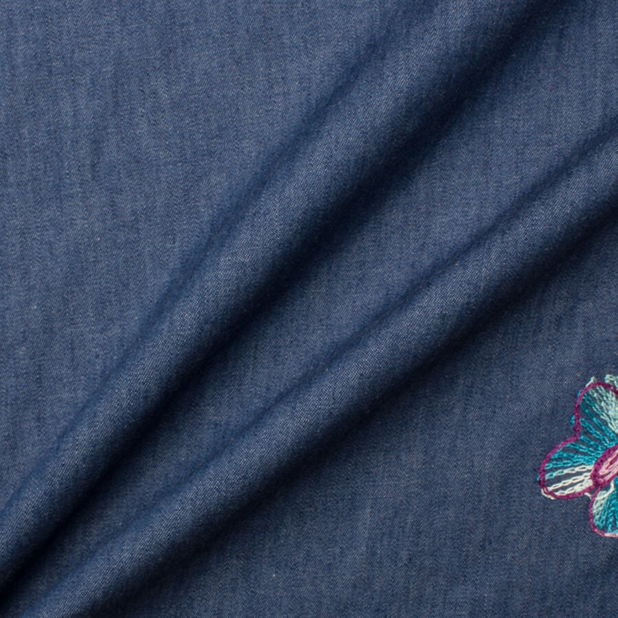 Butterfly & Floral Embroidered Blue Denim