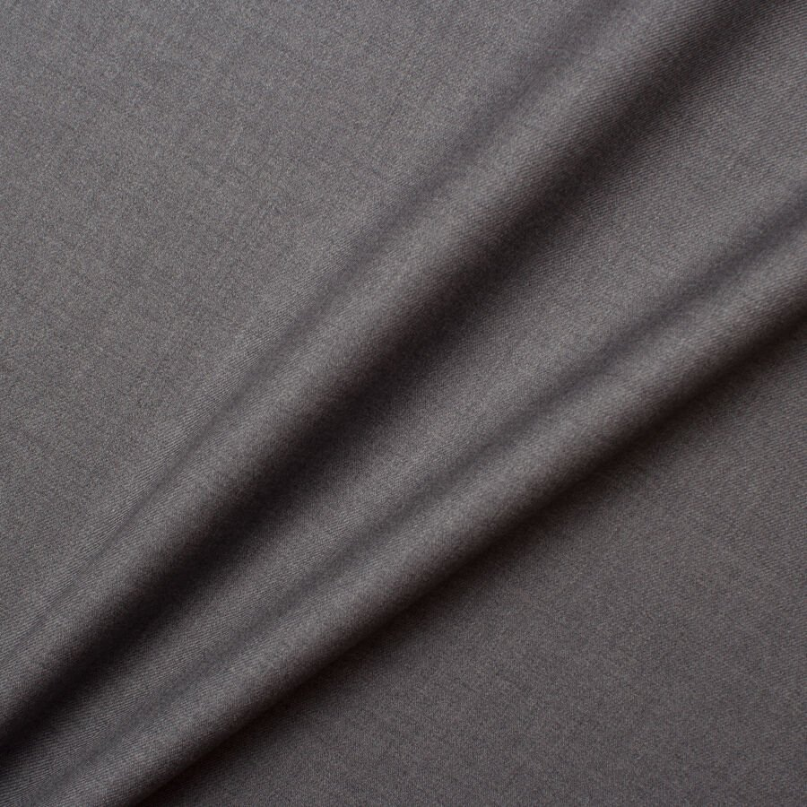 Grey Superfine 'Emotion' Pure Wool Suiting by Piacenza