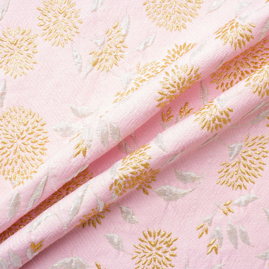 Deep Gold Floral Baby Pink Brocade