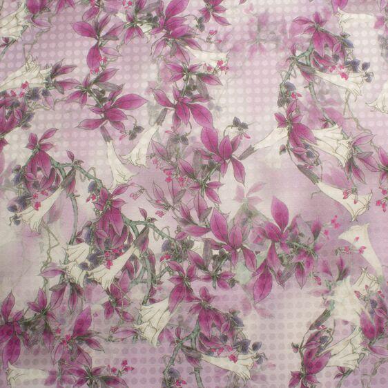 Deep Fuchsia Floral Printed Silk & Cotton Blend Jacquard