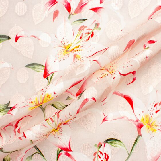 Pink Lily Printed Cotton Voile Fabric
