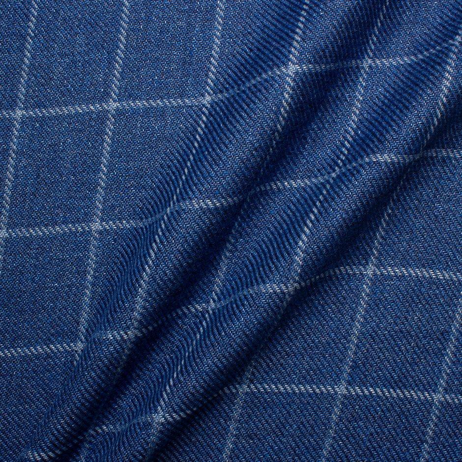 Blue Checkered Hemp & Wool Blend Suiting Fabric