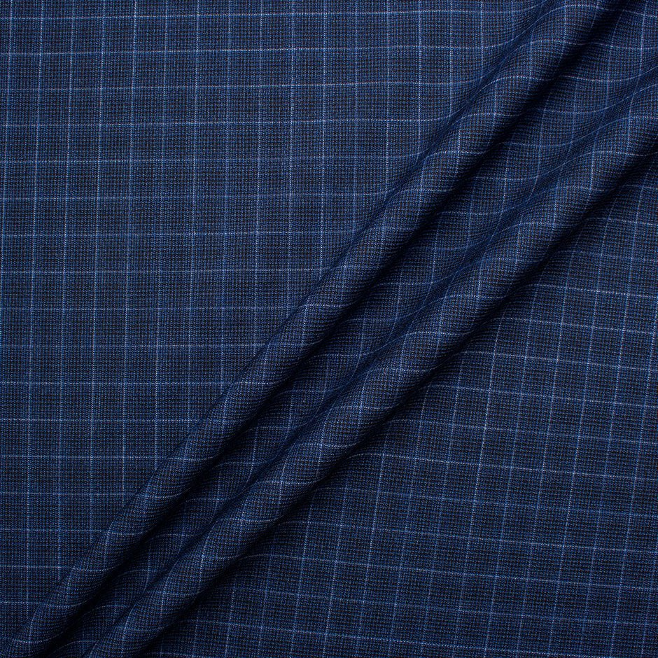 Blue Graph Checkered Pure Wool Suiting Fabric