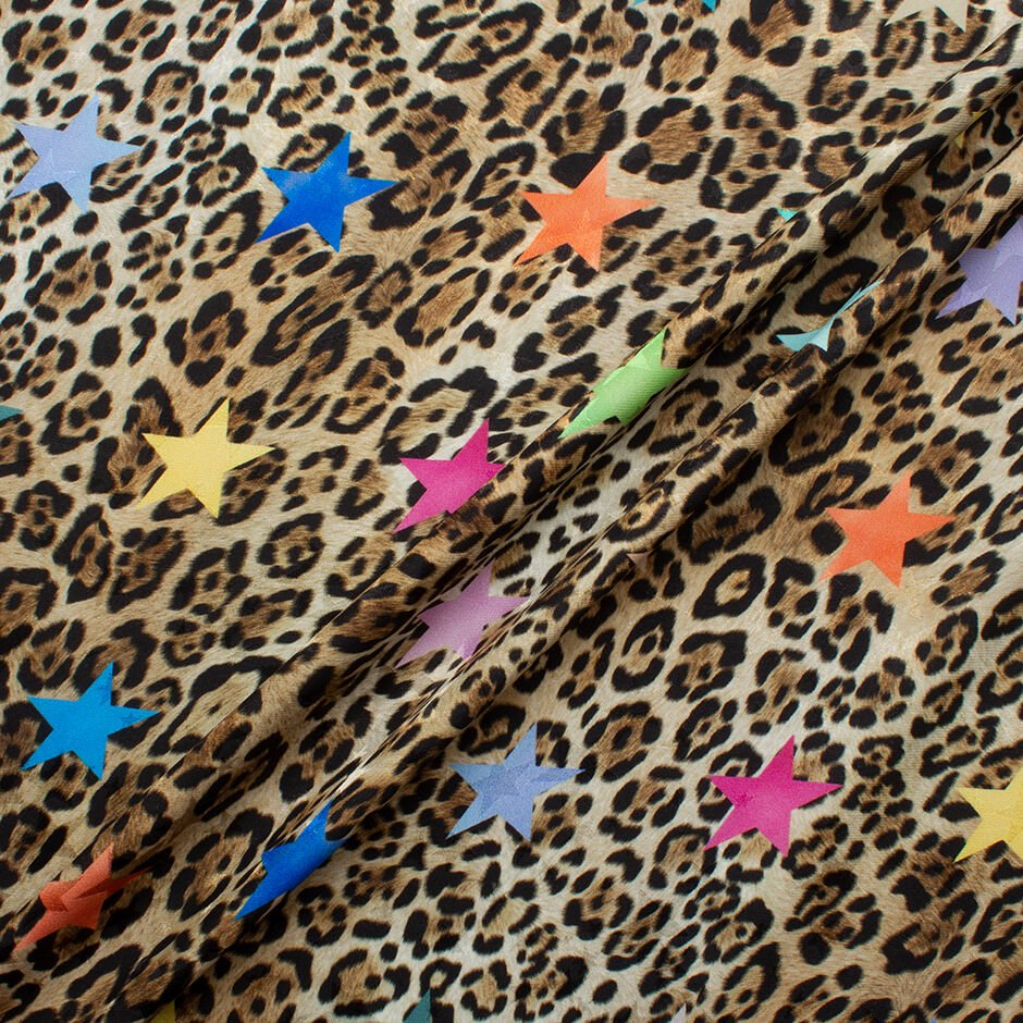 Rainbow Coloured Stars on Animal Print Silk Jacquard