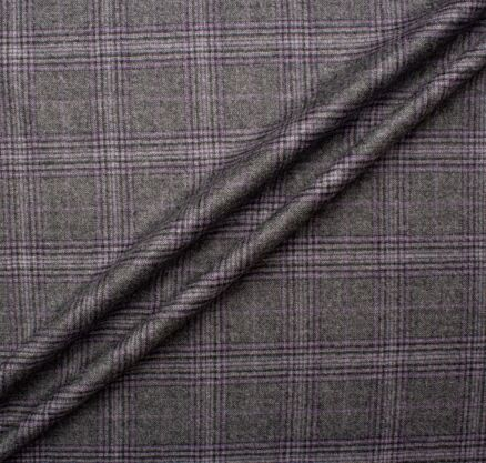 Grey Two-Tone Checkered Wool & Cashmere Suiting