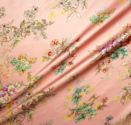 Mint & Yellow Floral Printed Soft Pink Silk Twill