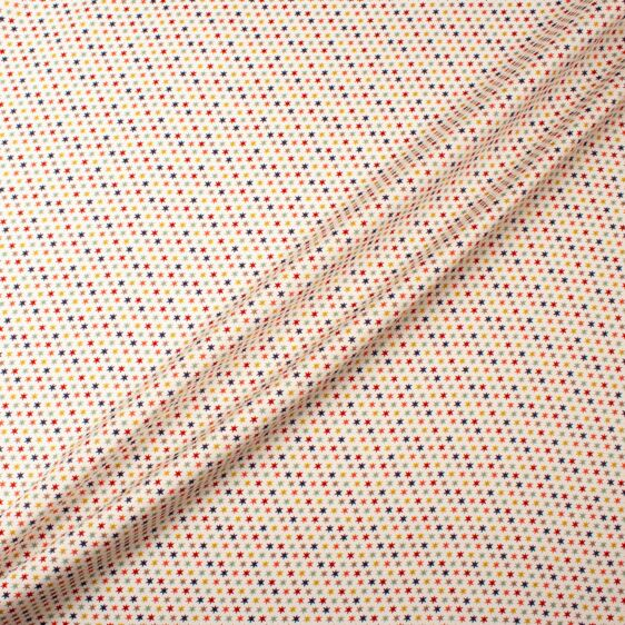 Multi-Coloured Star Printed Cream Silk Satin