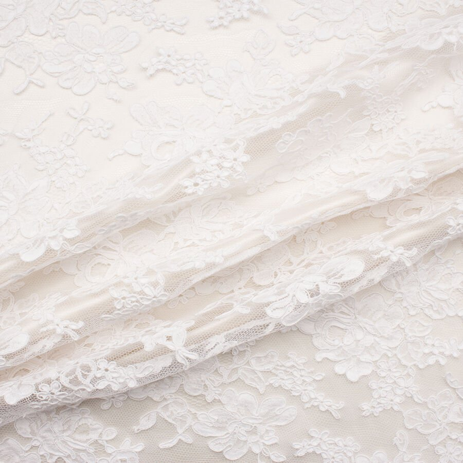 Pure White Floral Corded Lace<br />