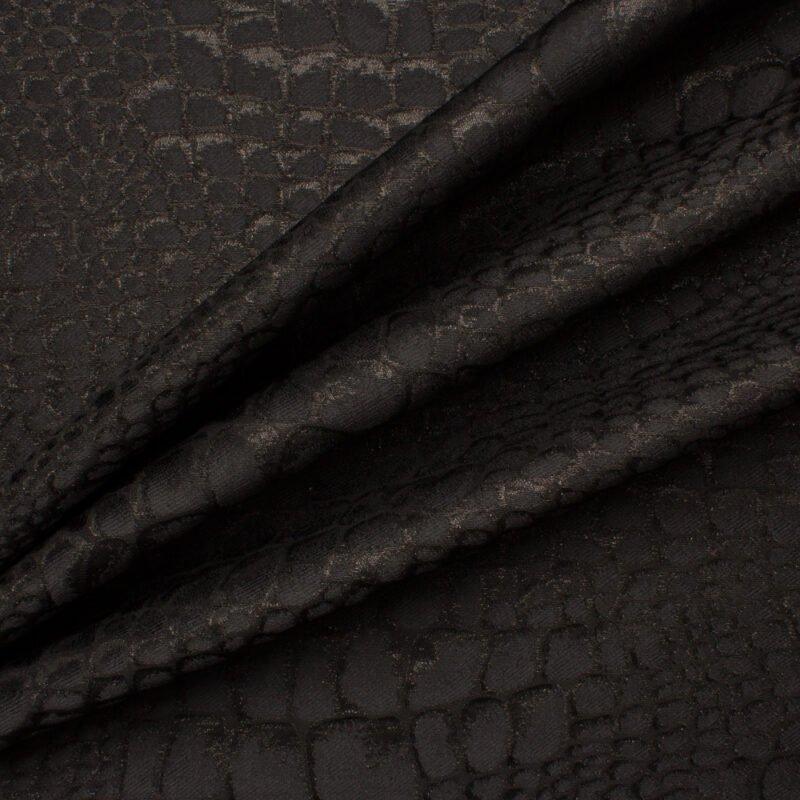 Get the look:<br />Black 'Mock Croc' Brocade