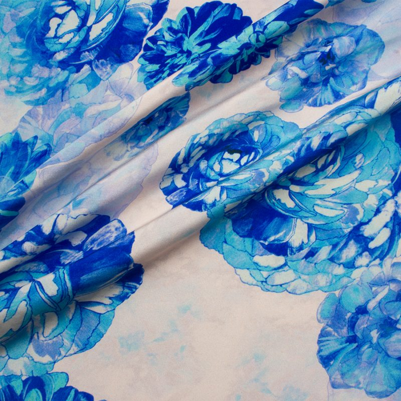 Recreate the look with our Abraham Blue Floral Printed Silk Crêpe.