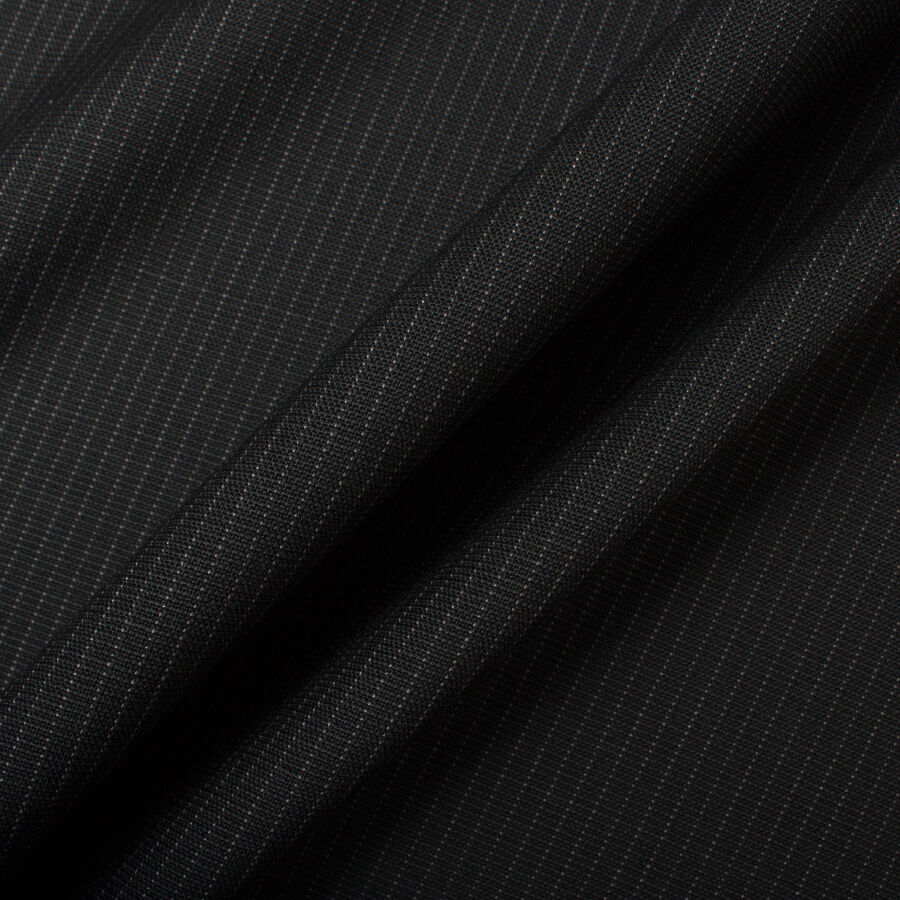 Black Pinstriped Superfine Pure Wool Suiting by Loro Piana<br />