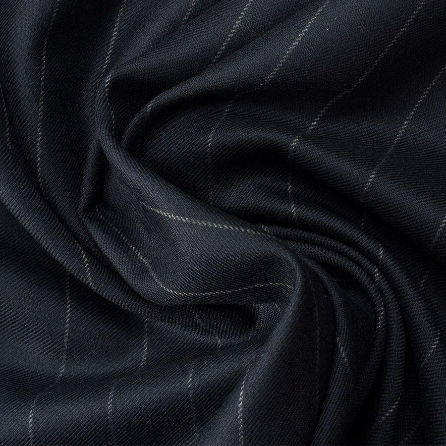 Midnight Blue Pure Cashmere Pinstripe Suiting by Loro Piana
