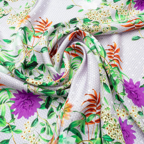 Floral Printed Lavender Silk Jacquard