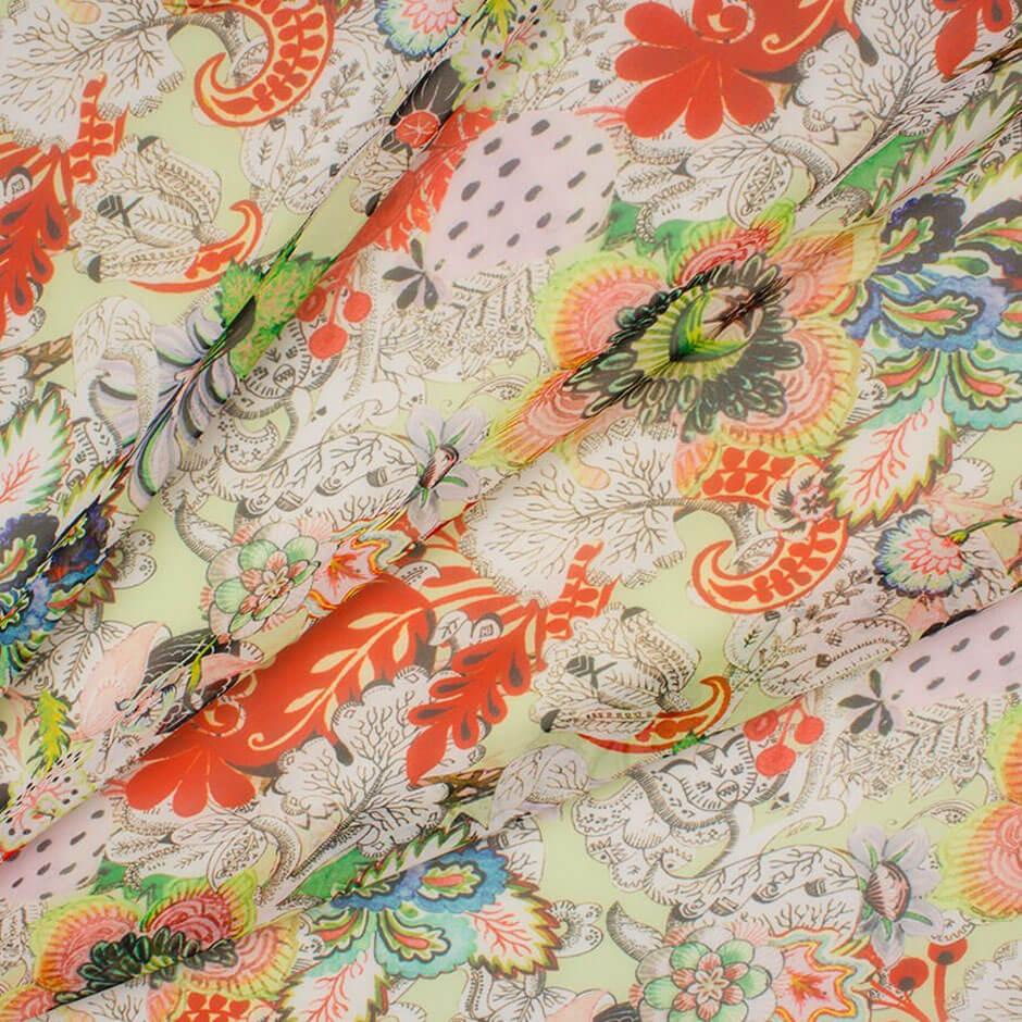 Red/Multi-Coloured Microfibre Chiffon Fabric