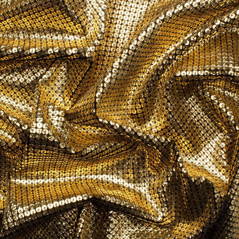 Gold Stamped Sequin Black Velvet Fabric Jakob Schlaepfer