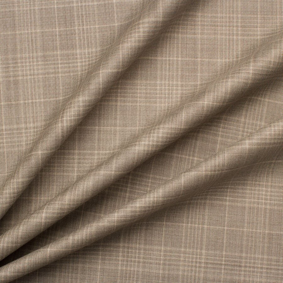 Beige Check Superfine '15MilMil' Wool Suiting