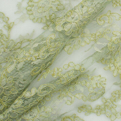 Olive Green Heavy Corded Cotton Lace