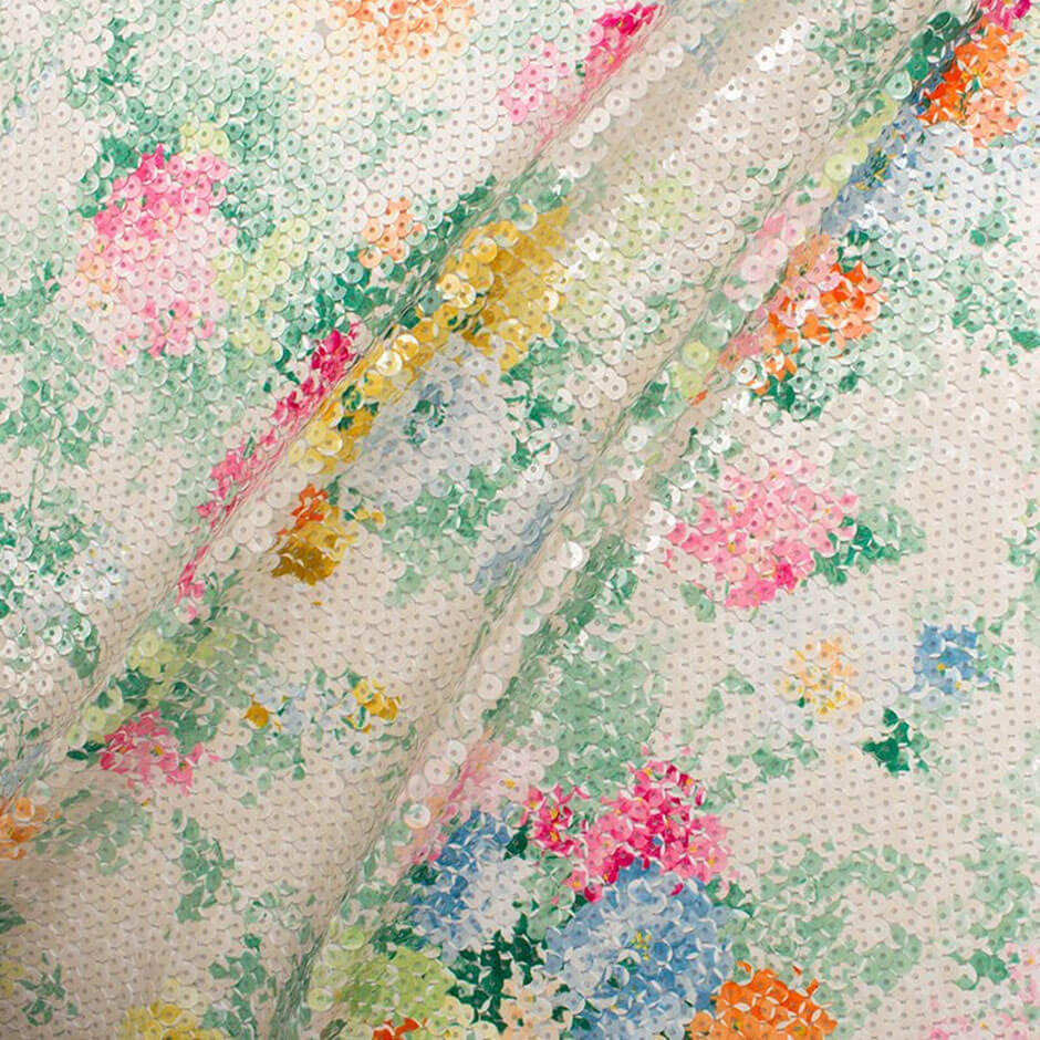 Bright Floral Printed Sequinned Georgette Fabric Jakob Schlaepfer