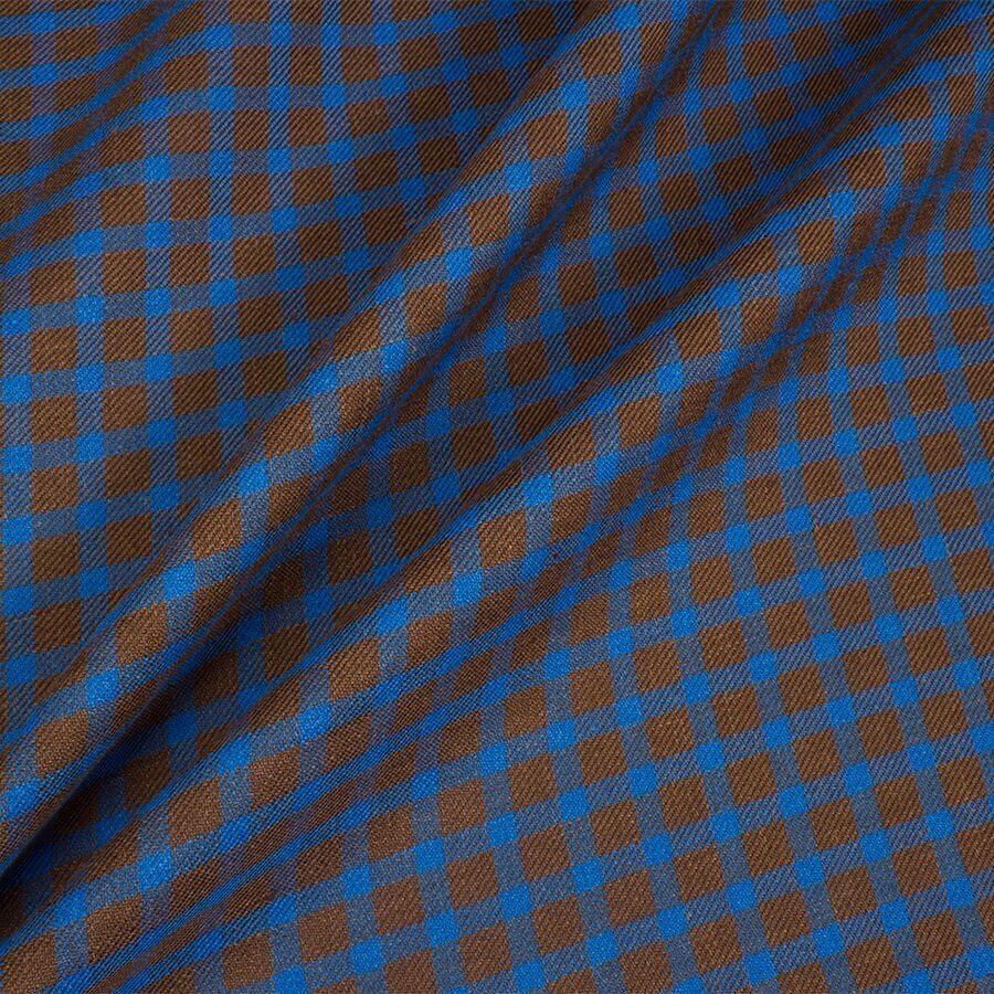 Blue & Brown Checkered Linen & Silk Suiting