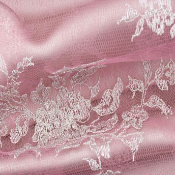 Pink/Silver Raschel Embroidered Tulle