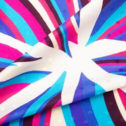 Blue, Purple & Pink Printed Silk Jacquard
