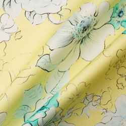 Turquoise Floral Printed Yellow Luxury Cotton