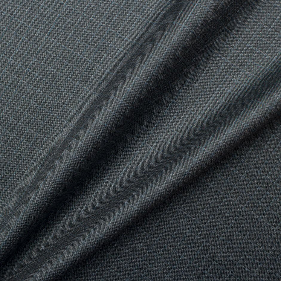Grey Checkered 'Trofeo' Superfine Wool Suiting