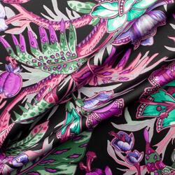 Pink & Purple Floral Printed Silk