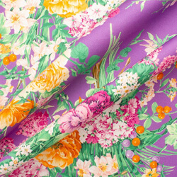 Multi Coloured Floral Printed Purple Luxury Cotton