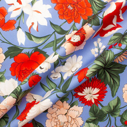 Bright Red & White Floral Printed Sky Blue Cotton