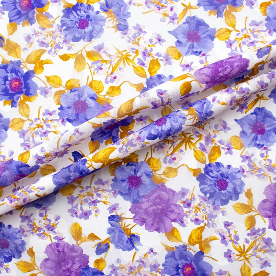 Purple & Lavender Floral Printed White Cotton Voile Jacquard
