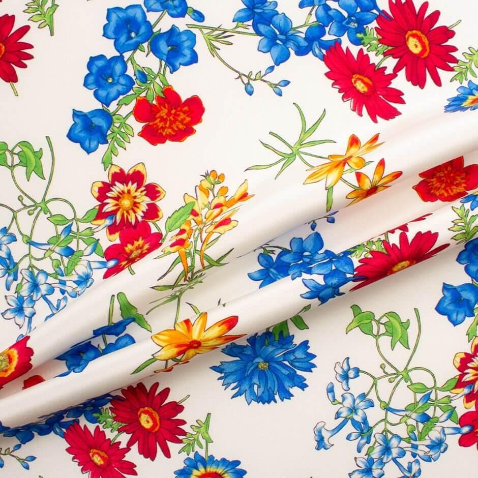 Multi Coloured Floral Printed Ivory Silk Crêpe