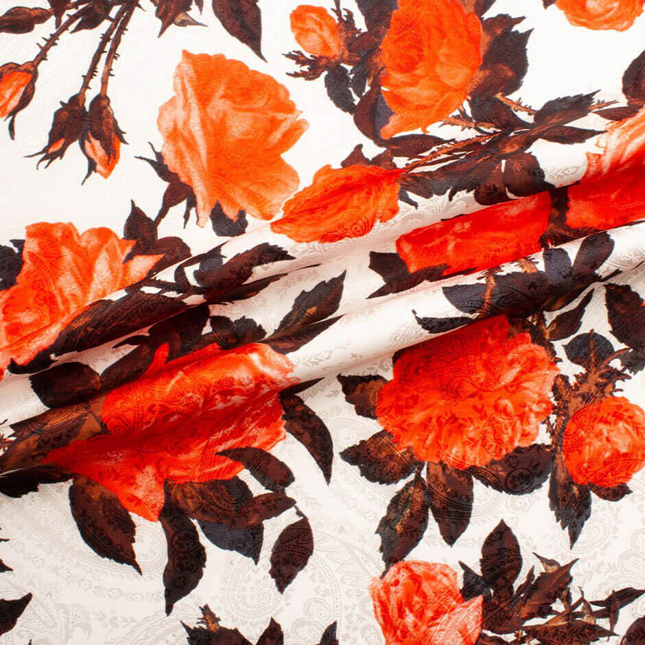 Red Floral Printed White Silk Jacquard