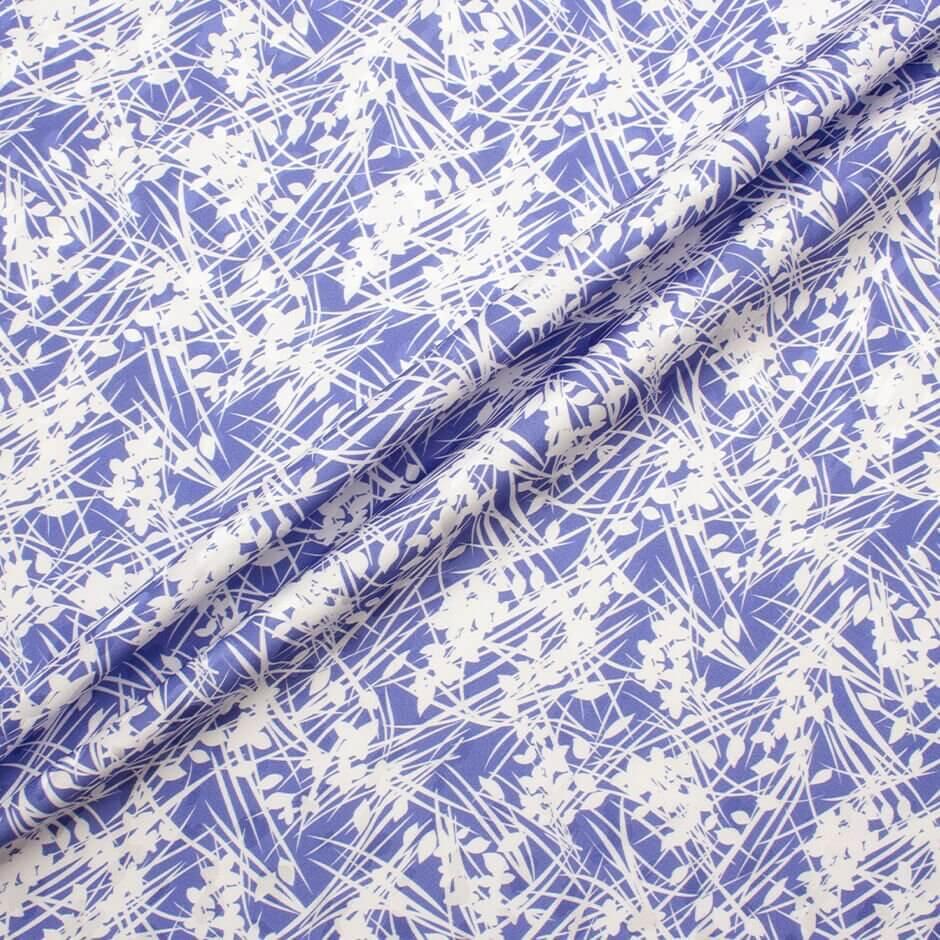 Blue & White Floral Printed Silk Jacquard