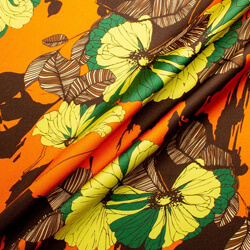 Orange & Brown Floral Printed Silk twill Emanuel Ungaro