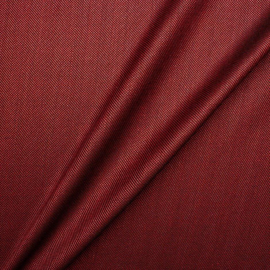Maroon Wool & Silk Blend Herringbone Suiting