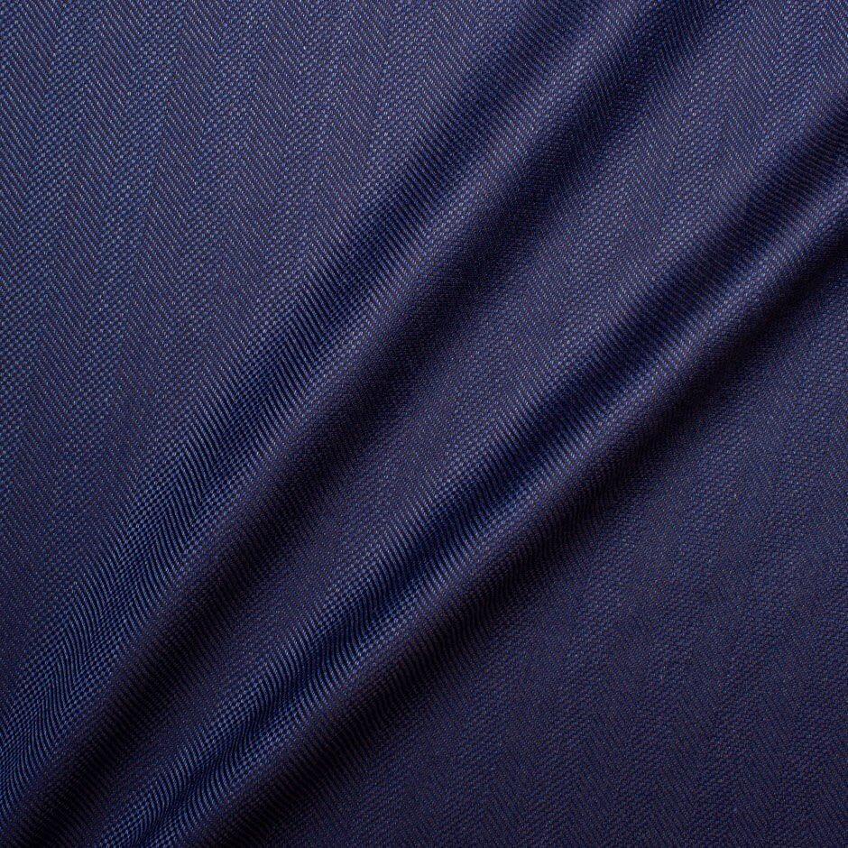 Blue Wool & Silk Blend Herringbone Suiting