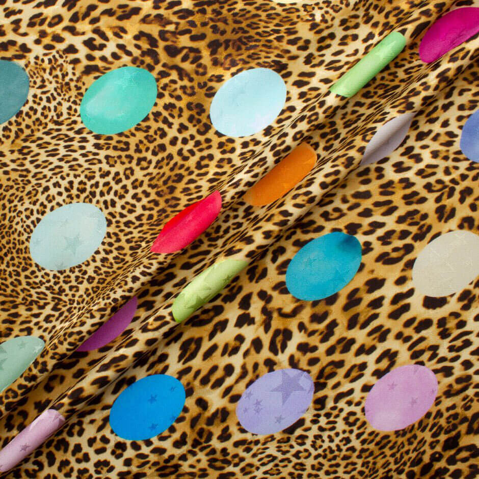 Multi Spotted Animal Print Silk Jacquard Fabric