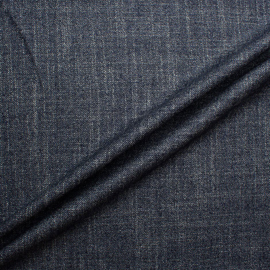 Ink Blue Wool & Silk Tweed Suiting Fabric