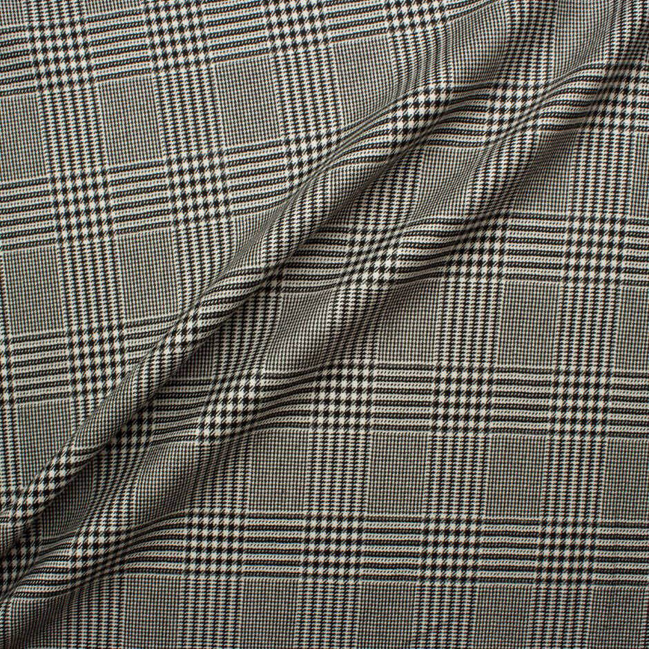 Prince of Wales Check Worsted Spun Cashmere