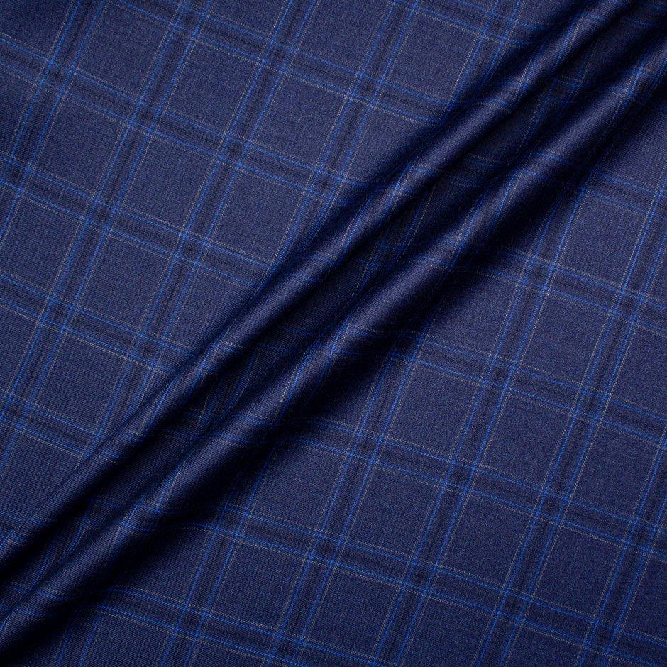 Midnight Blue Checkered Superfine Suiting