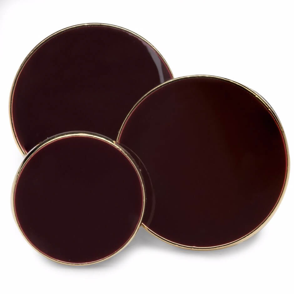 Dark Red Enamel Single Breast Button Set