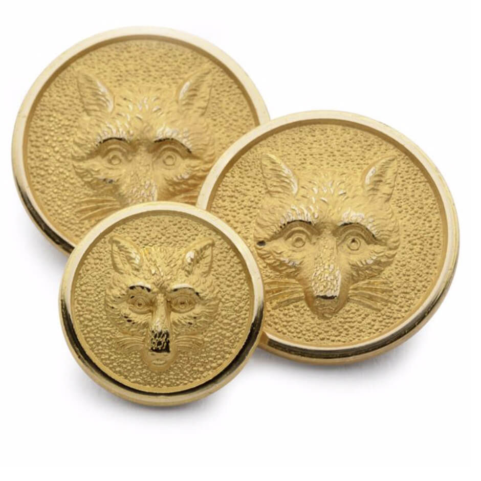 Gold 'Fox Mask' Single Breast Button Set
