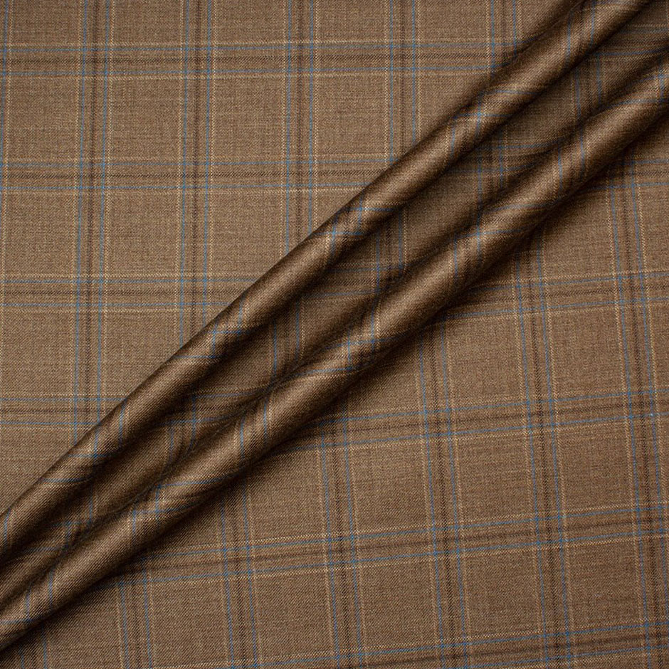 Brown Checkered Superfine Wool Suiting